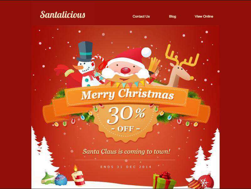 plantilla de email navideño - Santalicious - Responsive Email Template
