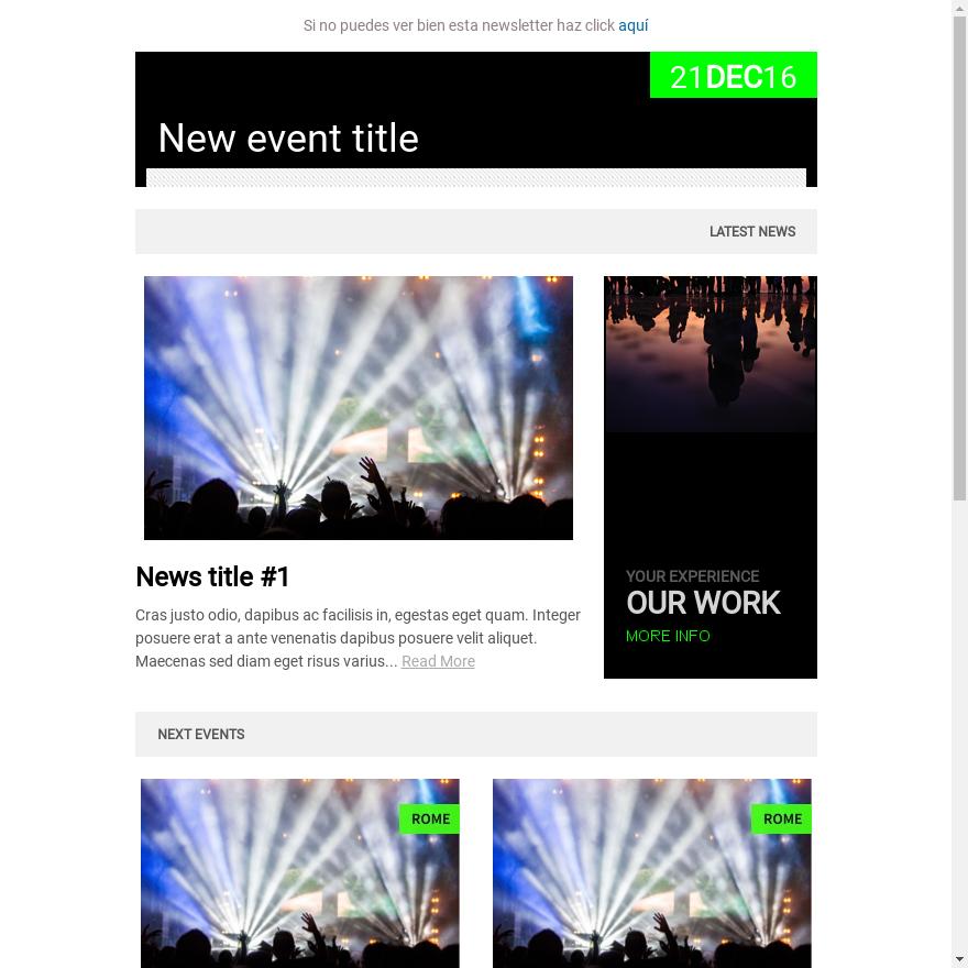 Plantilla newsletter eventos