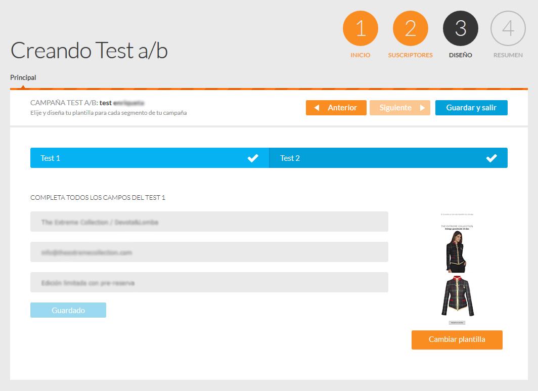 Test A/B mailing - Pantalla de configuración de cada test