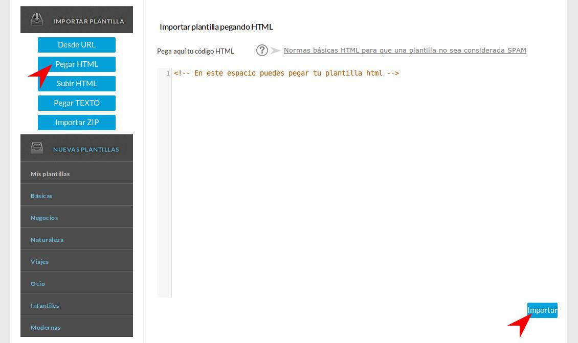 Importar pegando tu código HTML