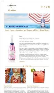 Campaña de emailing Chandon verano 2015