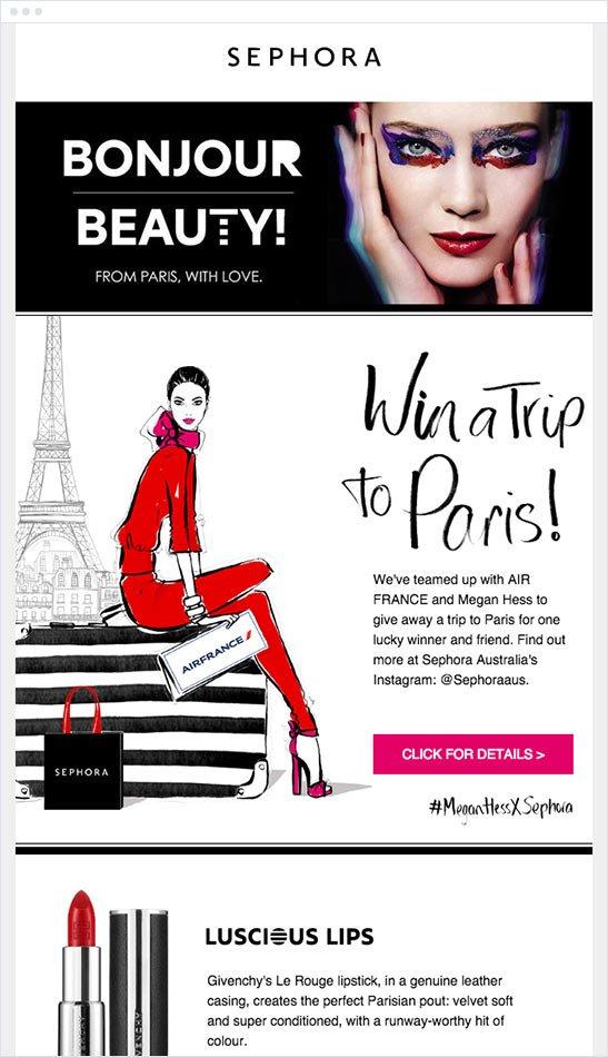 Sephora mandó a algunos de sus suscriptores a París