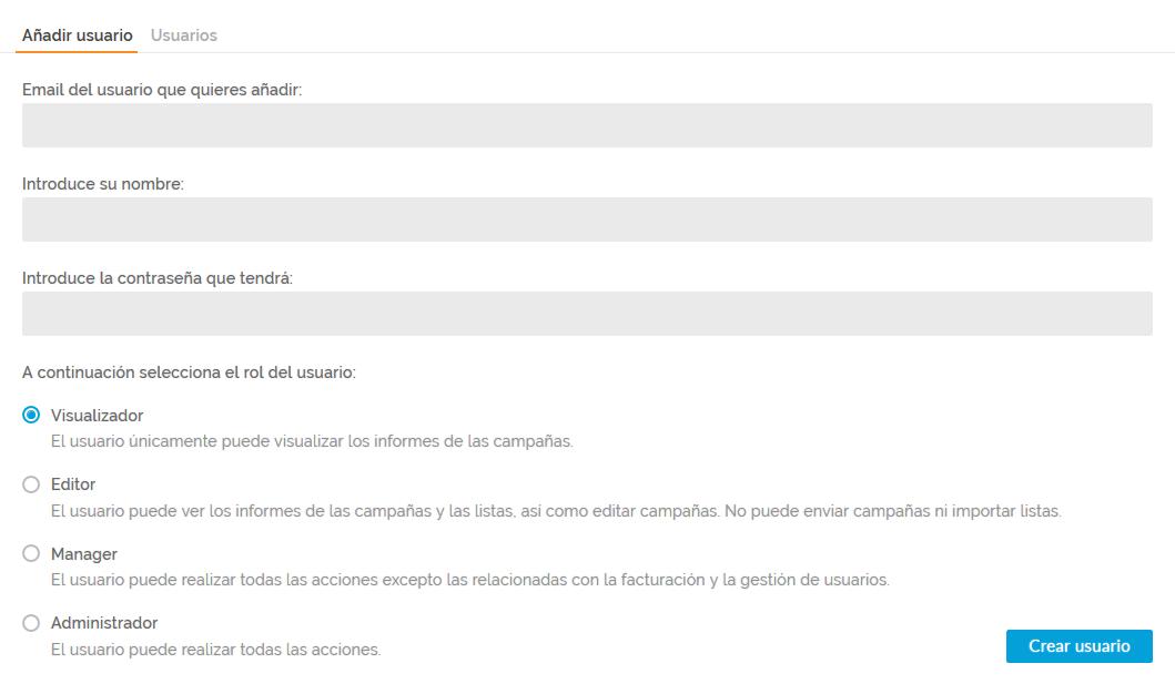 Panel de añadir usuarios y permisos - Acumbamail