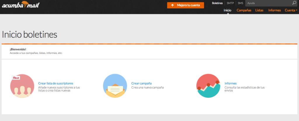 Crea una nueva lista de suscriptores en Acumbamail