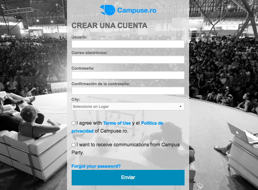 Formulario de registro Campus Party