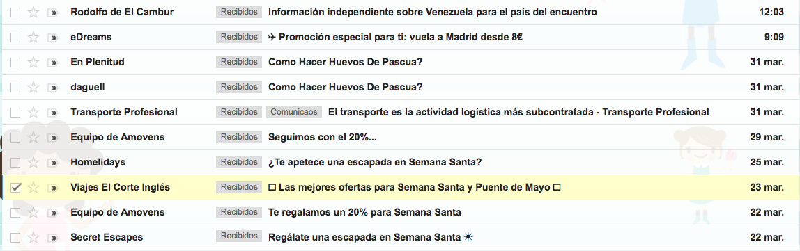 Email marketing en Semana Santa