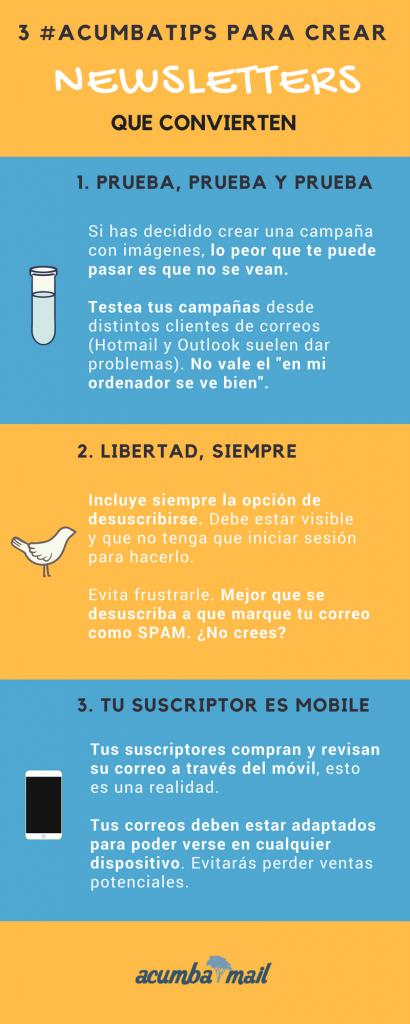 Infografía (2): Acumbatips para crear newsletters que convierten