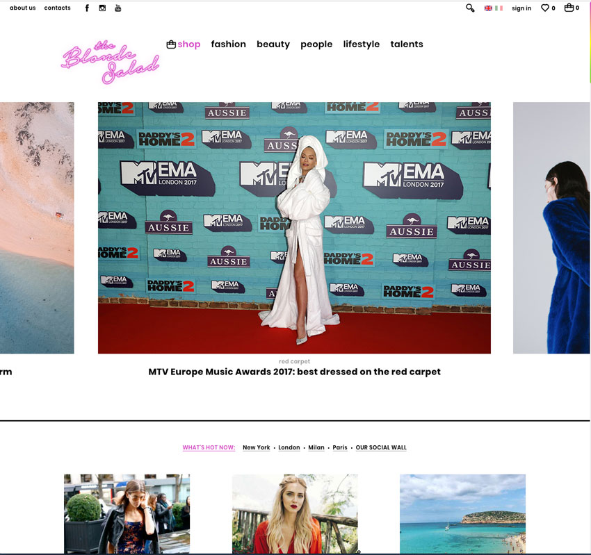 ecommerce de celebrities Chiara Ferragni