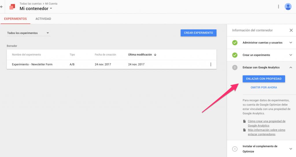 como hacer test A/B de landing pages con google optimize