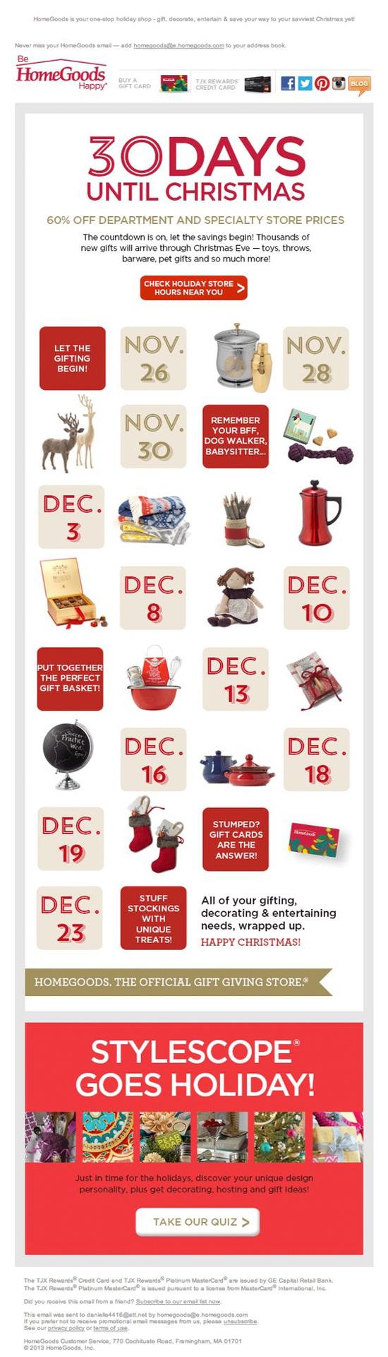 Usa un calendario en tu campaña de email marketing de navidad