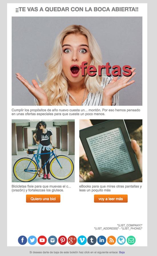 Ejemplo Felicitación de año nuevo email marketing