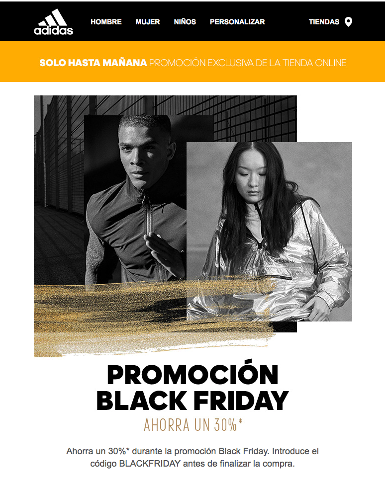 black friday email descuento
