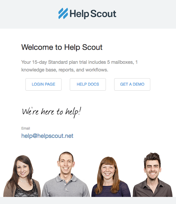 email bienvenida helpscout