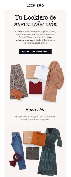ejemplo email moda