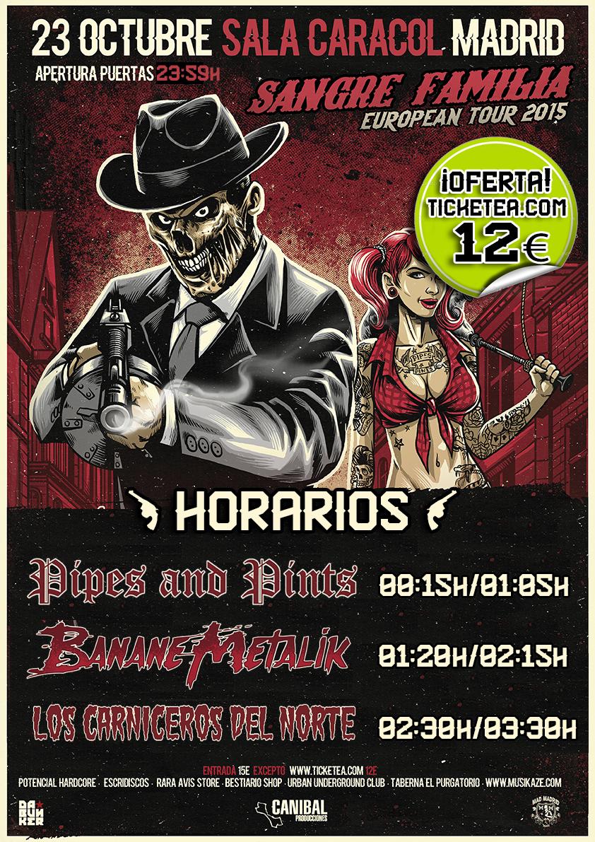 Banane Metalik, Los Carniceros del Norte y Pipes & Pints este viernes en Madrid