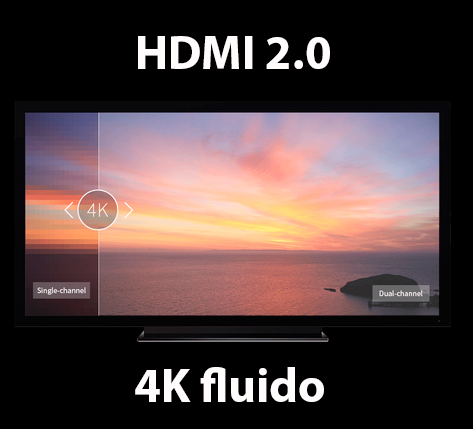 HDMI 2.0 para reproducción 4K fluido