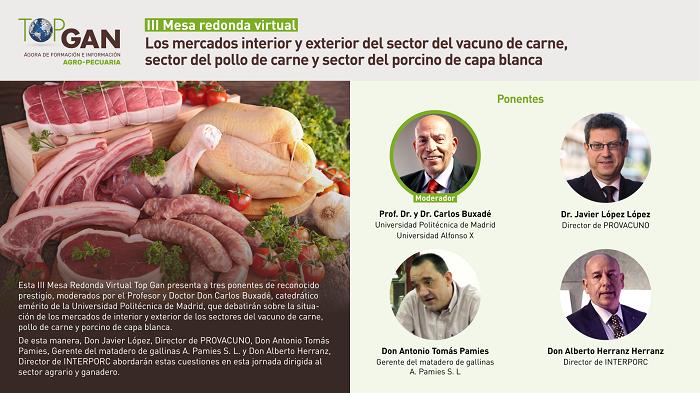 """Vídeo de la III Mesa Redonda Virtual: """"Los mercados interior y exterior de sector del vacuno de carne, sector del pollo de carne y sector del porcino"""" (1)"""