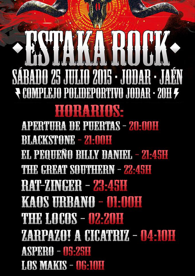 Horarios ESTAKA ROCK 2015