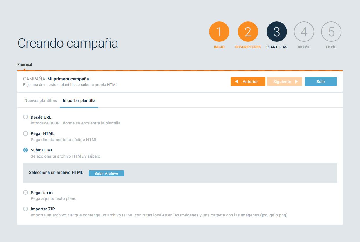 subir html plantilla