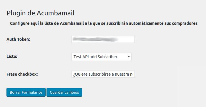 Configuración de integración con Woocommerce del plugin de Acumbamail